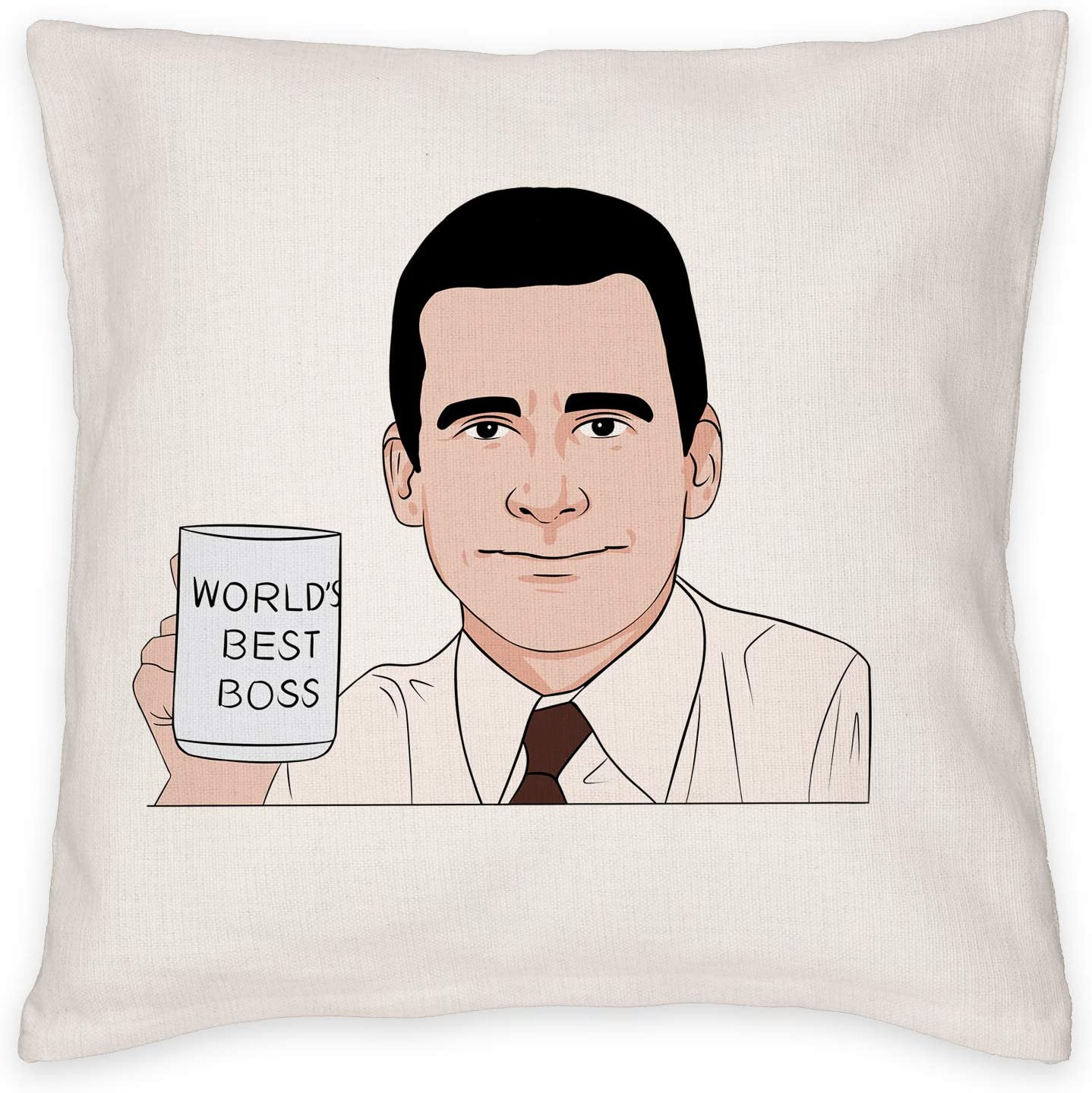 MTWXH Throw Pillow Case, The Office Michael Scott World's Best Boss 18x18 Inch Decorate Pillow Cover, The Office Merchandise Cushion Cover for Home & Office Decor, Decoration Gifts for TV Show Fans