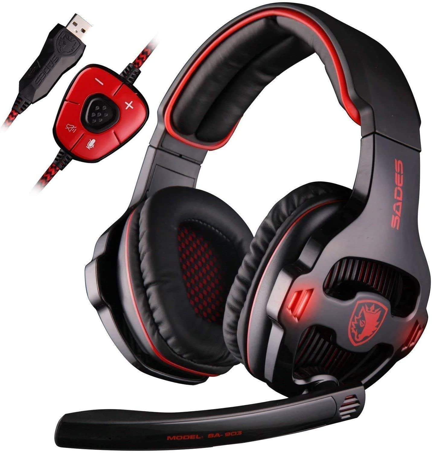 Sades Wired USB 7.1 Channel Virtual Surround Stereo Gaming Headset Over Ear Headphones with Mic Revolution Volume Control & Noise Canceling & LED Light for PC Mac Computer Games Laptop-Red