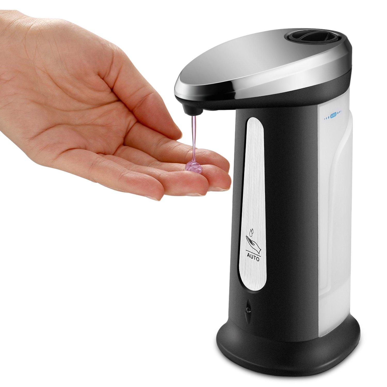 Flexzion Automatic Soap Dispenser Touchless Electric Sensor Pump - Plastic Hand Sanitizer Dish Liquid Washer Refillable Dispenser Fingerprint Resistant For Bathroom Kitchen Sink Shower Home Kids