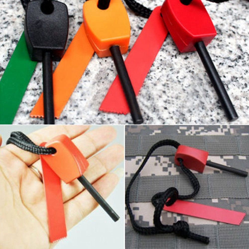 Outdoor Camping Living Survival Tool SODIAL 3 x Fire Starter Steel Flint /& Striker Survival Tool Kit Random Colour
