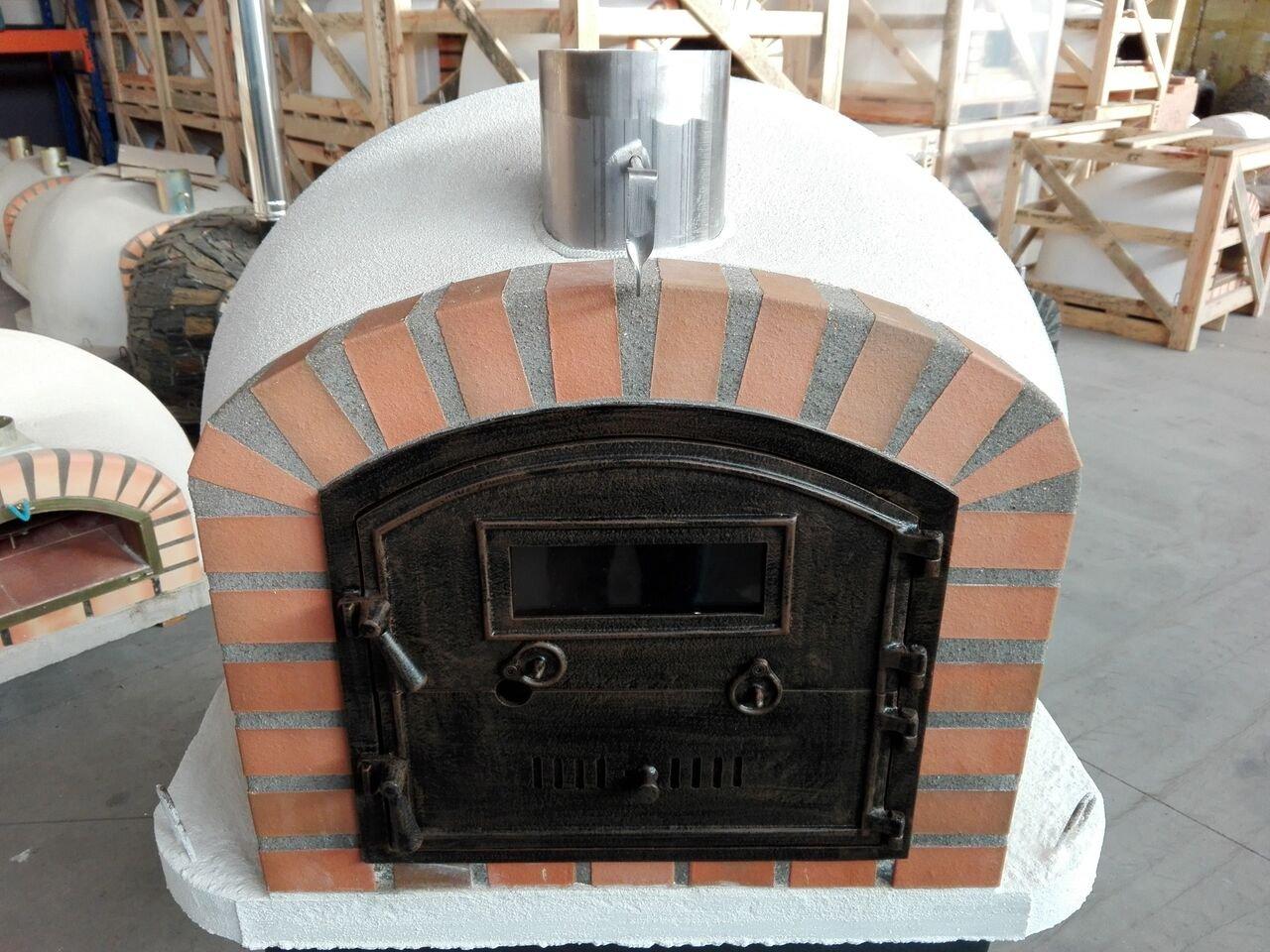 Horno de pizza de ladrillo, aislado, madera Fired, fabricada ...