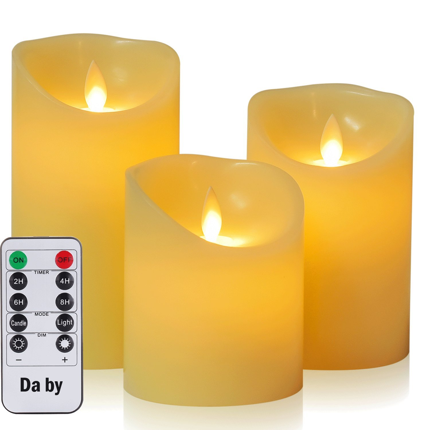 Da by Flameless Candle 4'' 5'' 6'' Set of 3 Realistic Dancing LED Flickering Wick for Parties,Home,Public Elegant Events, Battery Powered, 10-Key Remote Control , Ivory Color