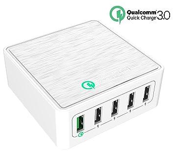 Quick Charge 3.0 USB cargador, cargador rápido topace® 40 W de 5 Puerto Quick Charging Desktop Qualcomm Quick Charge 3.0 para Huawei Mate 9/mate ...