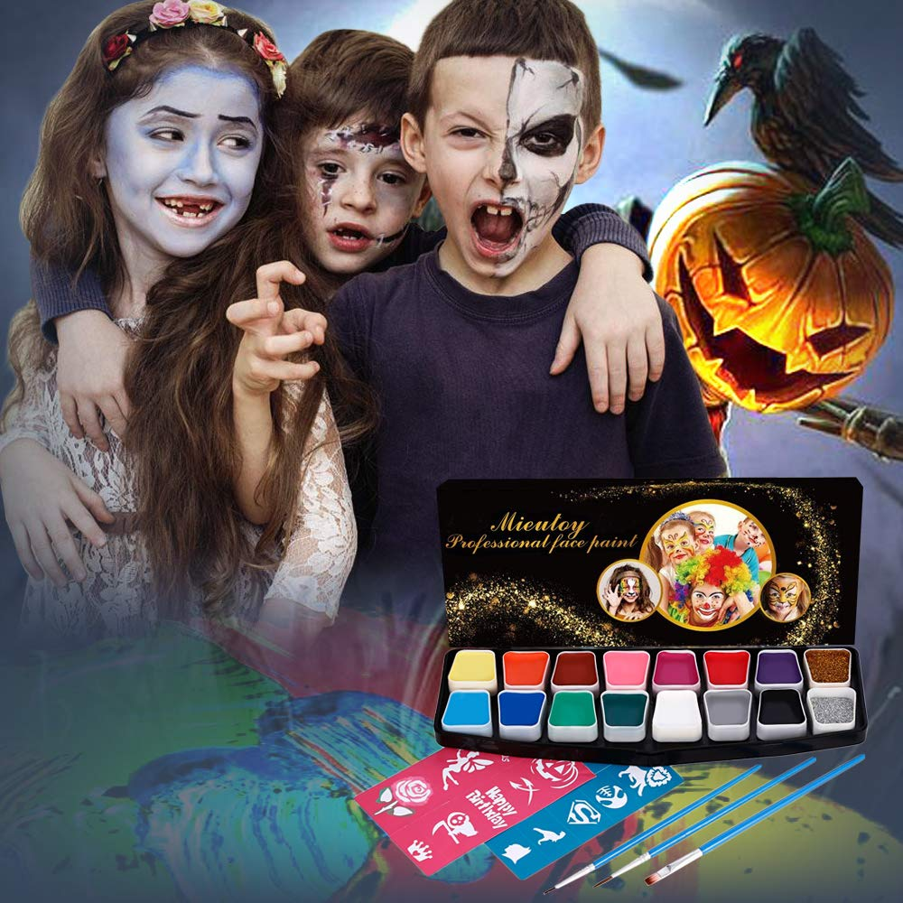 Mieutoy Face Paint Set - 16 Color Washable Eco-friendly Body Paint Make-up Oil Painting Palette Color Panels with 3 Brushes, 2 Stickers, Halloween Decorations for Adults & Kids Party
