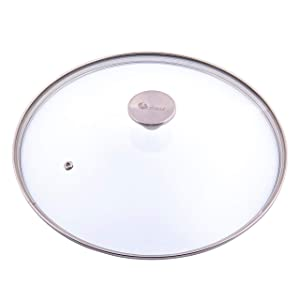 "Victoria Glass Lid for 13"" Cast Iron Skillet, Stainless Steel Air Flow Knob, Model LID-484 Fits Item SKL-313"