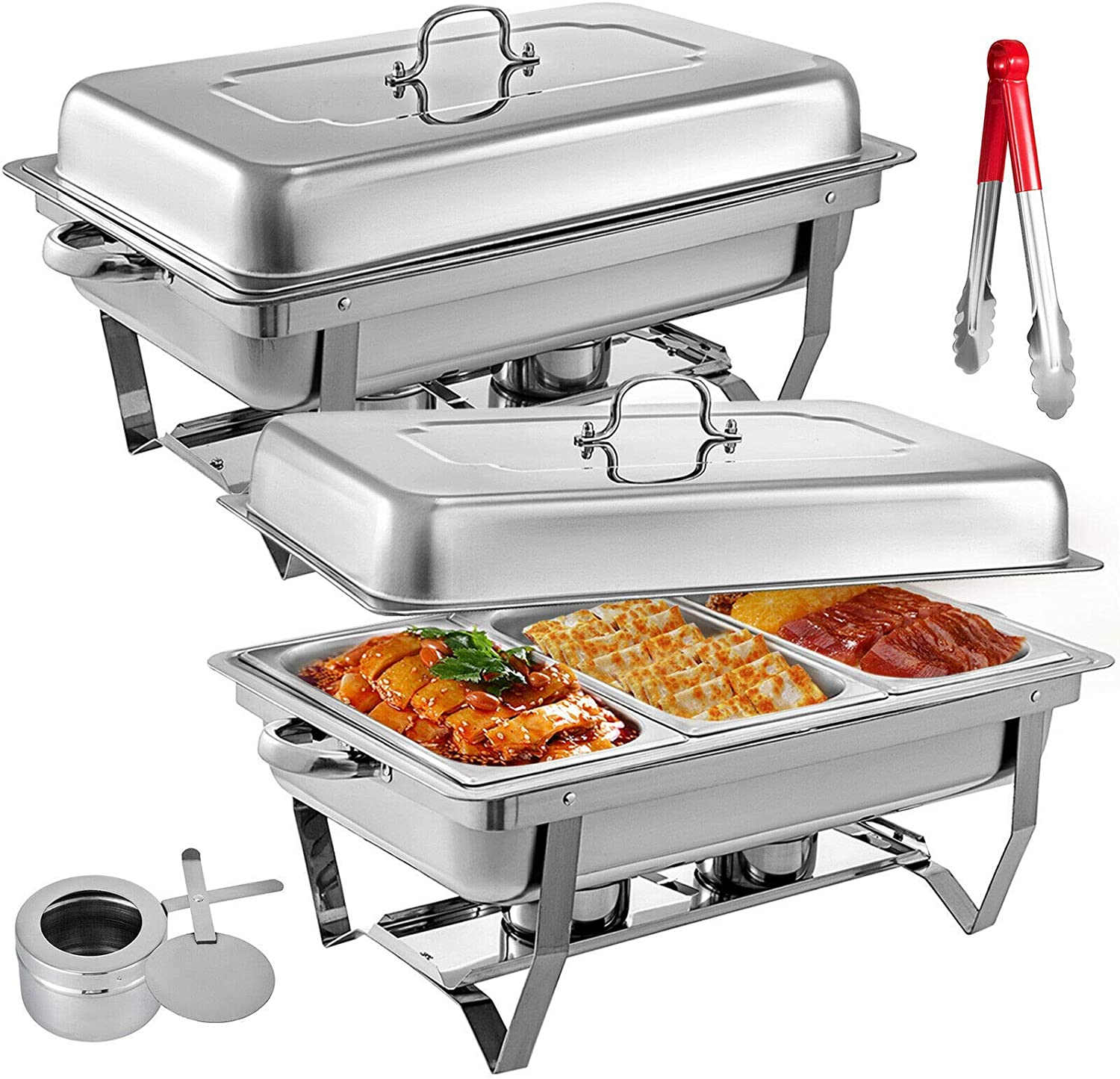 2 Packs Stainless Steel Chafing Dishes 3 1 in 3rd Size Pans 8 Quart Rectangular Chafer Complete Set Buffet Tray Food Warmer