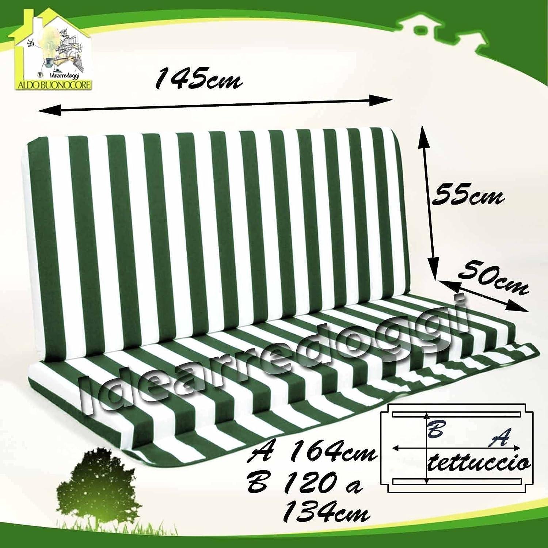 Cuscino per dondolo Lastra 3 Posti 150 Cm Bianco/Verde Buonocore