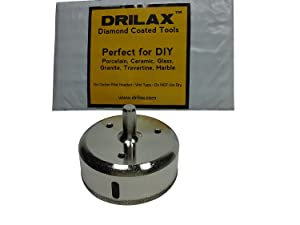 Drilax 3 inch Diamond Hole Saw Drill Bit Tiles, Glass, Fish Tanks, Marble, Granite Countertop, Ceramic, Porcelain, Coated Core Bits Holesaw DIY Kitchen, Bathroom, Shower, Faucet Installation