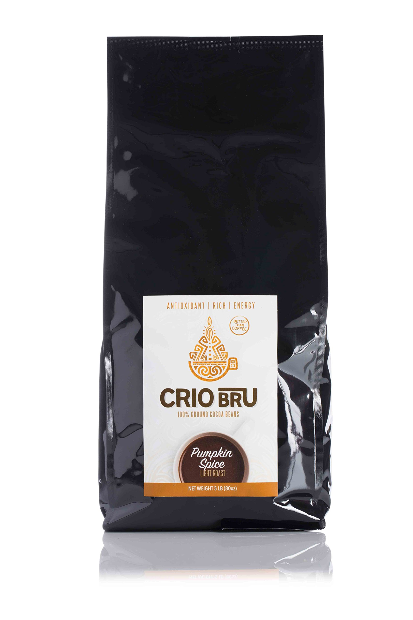 Crio Bru Pumpkin Spice Light Roast 80oz (5 lb) Bag | Organic Healthy Brewed Cacao Drink | Great Substitute to Herbal Tea and Coffee | 99% Caffeine Free Gluten Free Whole-30 Low Calorie Honest Energy