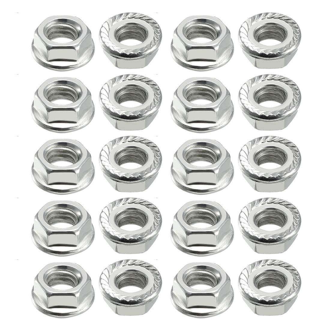 uxcell M8 Serrated Flange Hex Lock Nuts, Carbon Steel 100 Pcs
