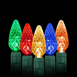 AIDDOMM LED Christmas Lights 70 Counts C6, for Outdoor and Indoor, Multi Colored Light, Green Wire, 6in Spacing, 35.5ft, UL Listed