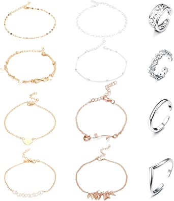 Girls Barefoot Ankle Jewelry Adjustable Anklet Set for Women Anklet Jewelry Set 12 PCS Anklet Set