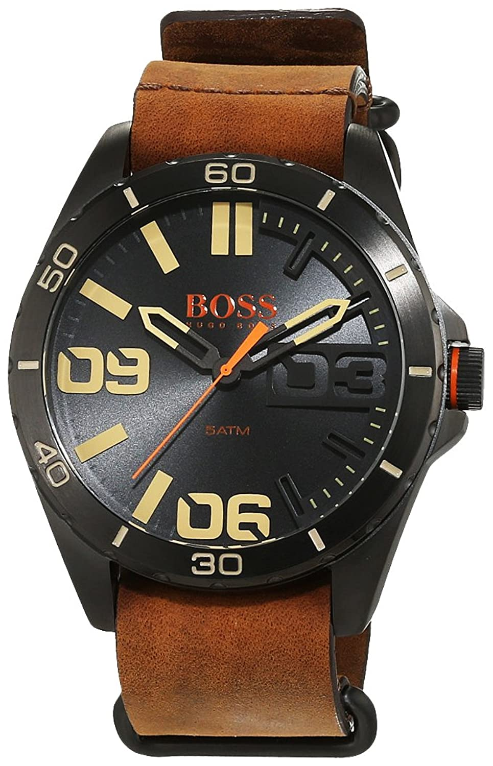 BOSS Orange Herren-Armbanduhr Analog Quarz Leder 1513316