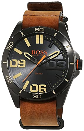 cheapest outlet boutique entire collection Hugo Boss Orange Herrenarmbanduhr Quartz Analog mit braunem Lederarmband  1513316
