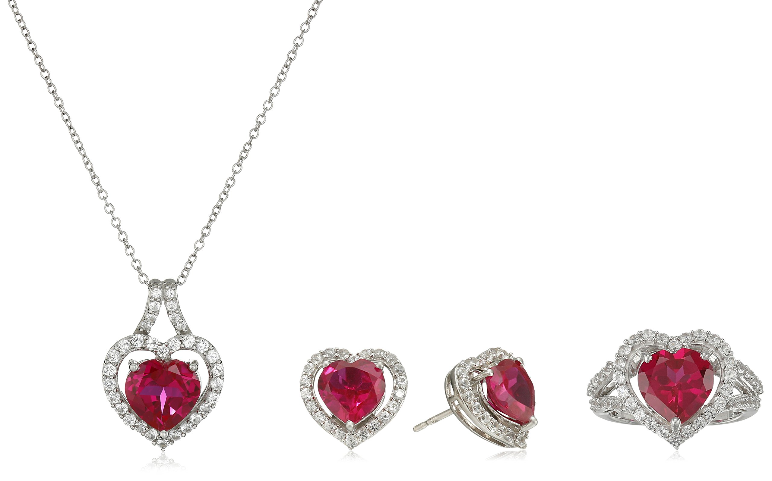 Sterling Silver Heart Shape Created Ruby and Round Created White Sapphire 3 Piece Jewelry Set (Necklace 18'', Ring Size 7)