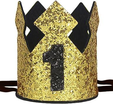 Amazon.com: Maticr - Corona brillante para primer cumpleaños ...