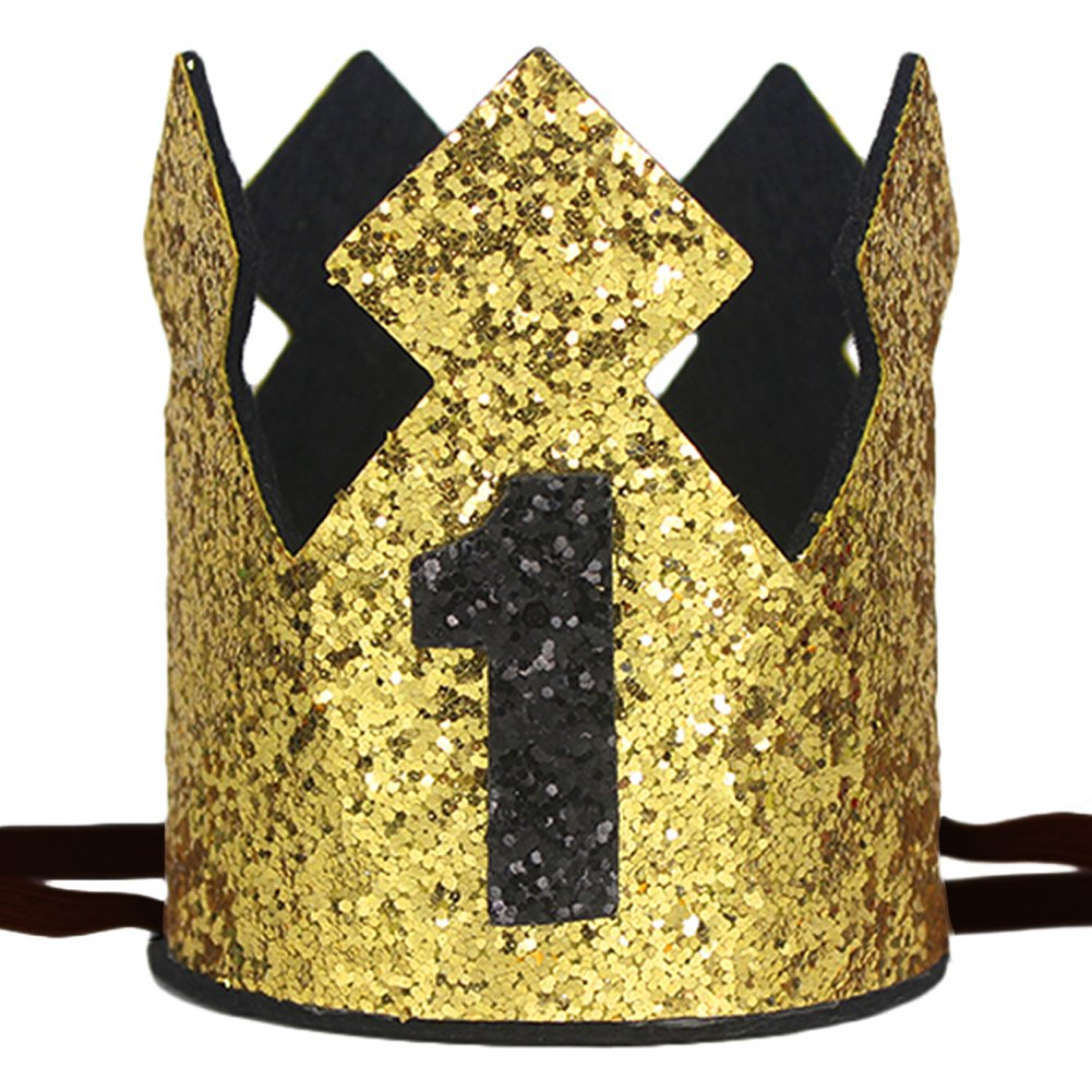 maticrキラキラBaby Boy最初誕生日クラウンWild One Prince Kingパーティークラウン帽子ケーキSmash写真プロップ  Gold Black 1 B07FL1P8FH