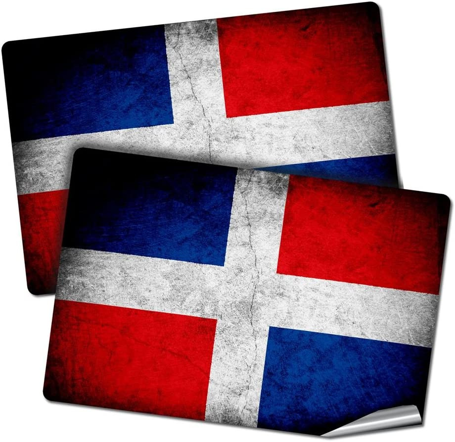 """Two 2""""x3"""" Decals/Stickers with Flag of Dominican Republic - Rustic - Long lasting premium quality"""