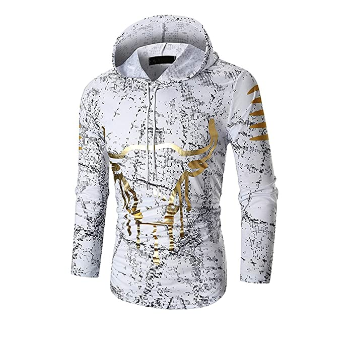 Amazon.com: ClearanceMens Gold Print Drawsting Casual Print Long Sleeve Pullover Sweatshirt Hoodie Coat Top: Musical Instruments