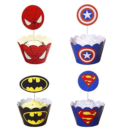 96 Unids Superhéroe Cupcake Toppers Wrappers Toppers Cake Decoraciones de mesa Suministros de fiesta 4 estilos-Spiderman Superman Batman Capitan ...