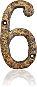 5.5 Inch House Numbers, Cast Iron Home Address Number, Featuring Solid /Heavy Duty & Sturdy, Uneven Bronze-colored,Number 6