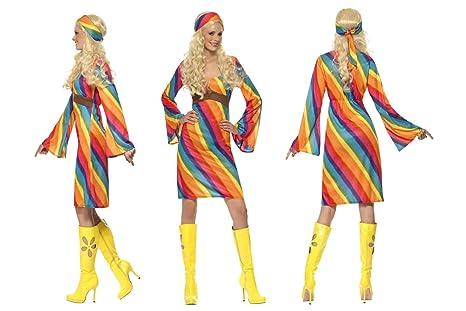 Fancy Dress World – Costume da Hippy Woodstock Arcobaleno Vestito e Fascia  da Donna Adulto 70 fa9bd7d9a54