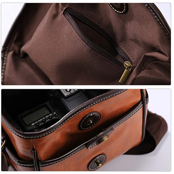 2b3bf878ba Amazon.com   Fashion Convenience Durable Portable Digital Camera Shoulder  Bag Soft PU Leather Bag with Strap