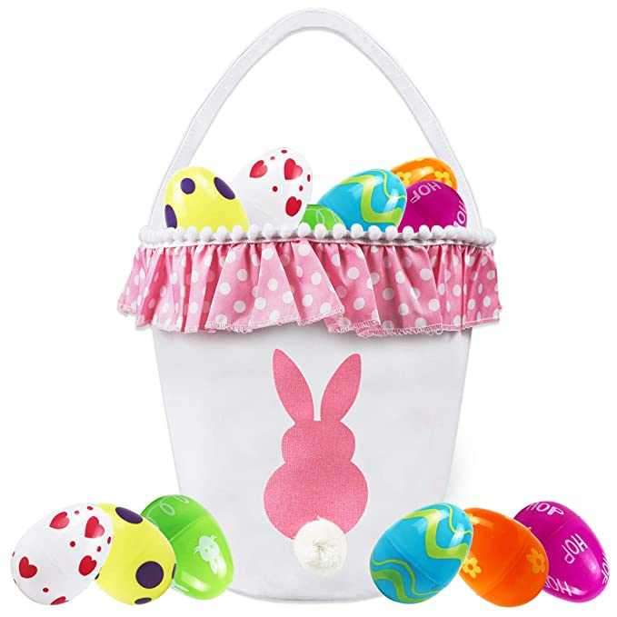 A Easter Egg Basket- Cloth Bunny Burlap Bag for Kids to Carry Candy and Gifts for Festival Party Holiday Candy Carry Bucket Tote Rabbit Fluffy Tails Party Celebrate Decoration Gift