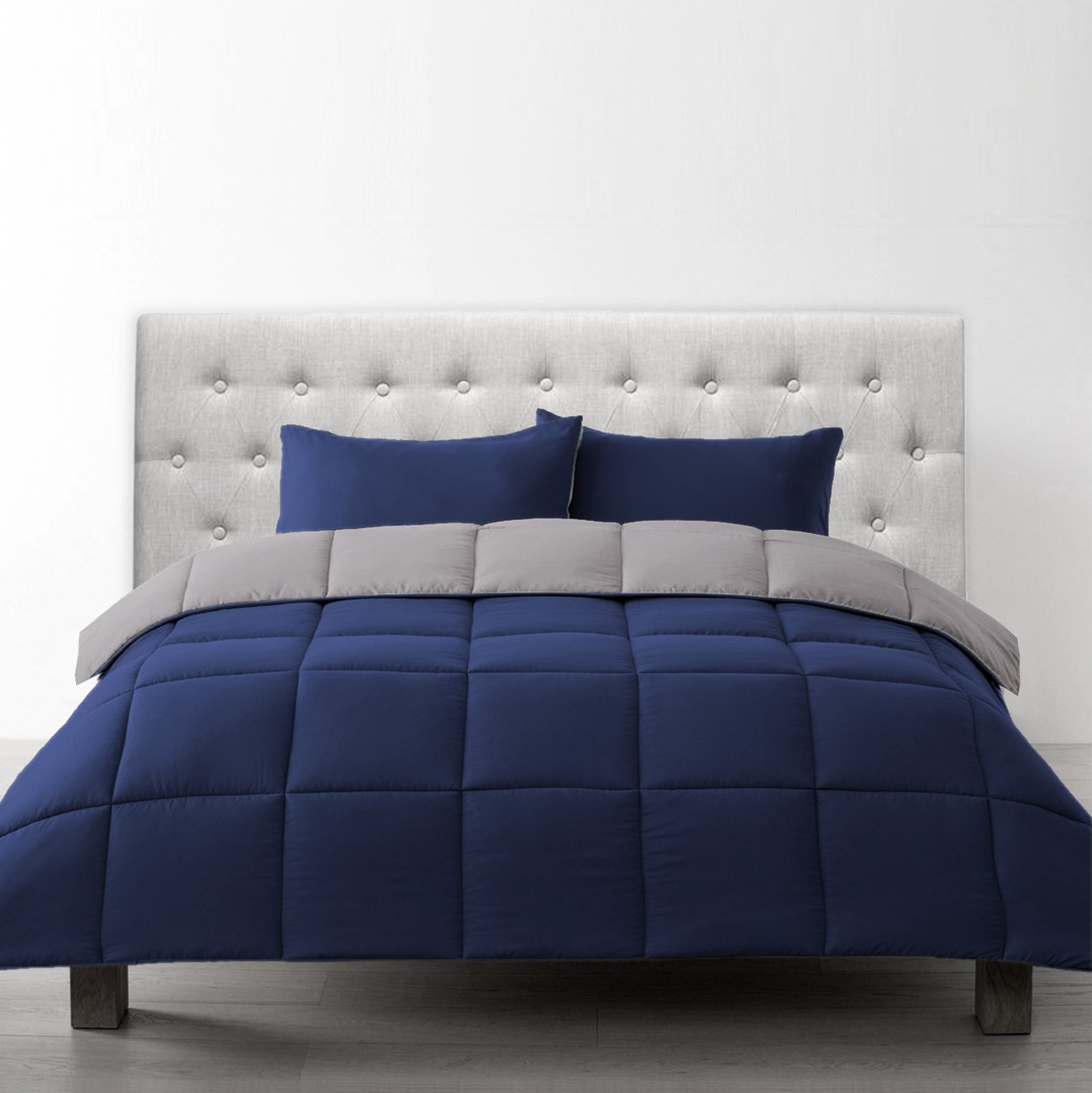 Bien Living All-Season 3 Piece Reversible Down Alternative Quilted Comforter Duvet - Ultra Soft Lightweight Hypoallergenic - Box Stitched Hotel Quality - Navy/Light Grey - Full/Queen