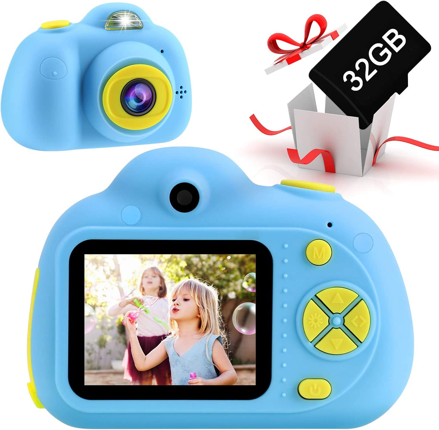 Toddler Camera Birthday Gift for Age 3 4 5 6 7 8 9 10 with 32GB SD Card Digital Camera for Kids Toy Gift Video Recorder 1080P IPS 2 Inch SELLOTZ Kids Camera for Boys and Girls