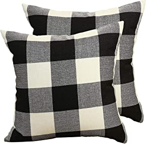 Jashem Plaid Throw Pillow Cover 18x18 Inch Buffalo Check Square Pillow Cover 2 Set of Modern Home Decorative Cushion Cover Pillow Case for Home, Office Decor (Big Plaid White Black)
