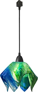 product image for Jezebel Signature Flame Track Lighting Pendant Small. Hardware: Brown. Glass: Fern