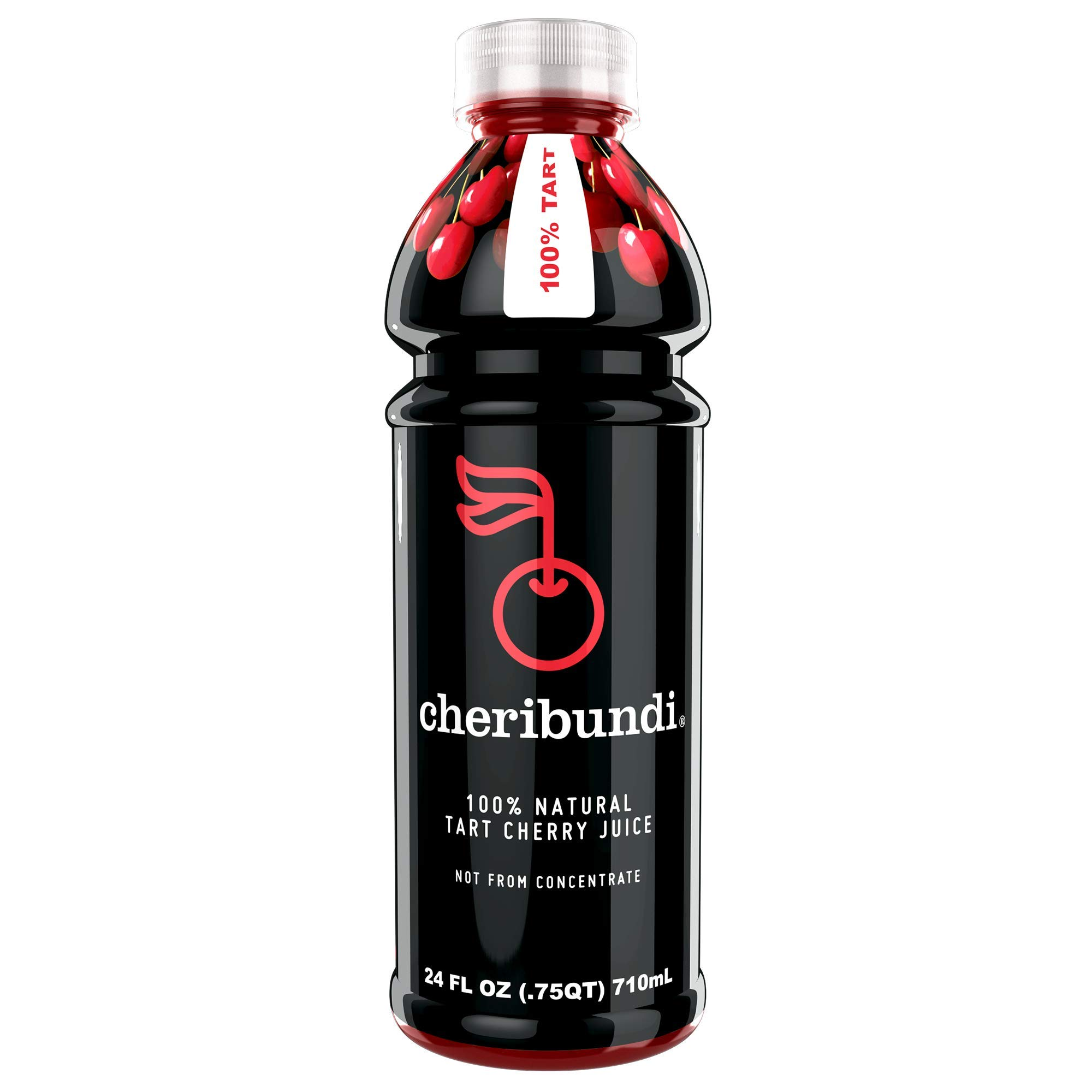 Cheribundi 100% Tart Cherry Juice - 60 Tart Cherries and 100 Calories Per 24oz. Serving, One Ingredient, All of the Benefits, Reduce Soreness, Recover Faster, Boost Immunity and Improve Sleep, 8 Pack