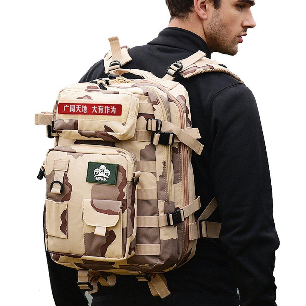 ZJR アウトドア 登山用バッグ メンズ ショルダー 特殊部隊 タクティカル パッケージ 多機能 コンビネーション 迷彩 アーミー ファン バックパック 40リットル 折り畳み可能 ミリタリーファンバッグ サンド 3色   B07GLW59CP
