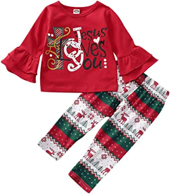 HAPPYMA Toddler Baby Girls Christmas Outfits Long Bell Sleeve with Cute Letter Shirts + Cartoon Reindeer Pants Clothes Sets 2Pcs
