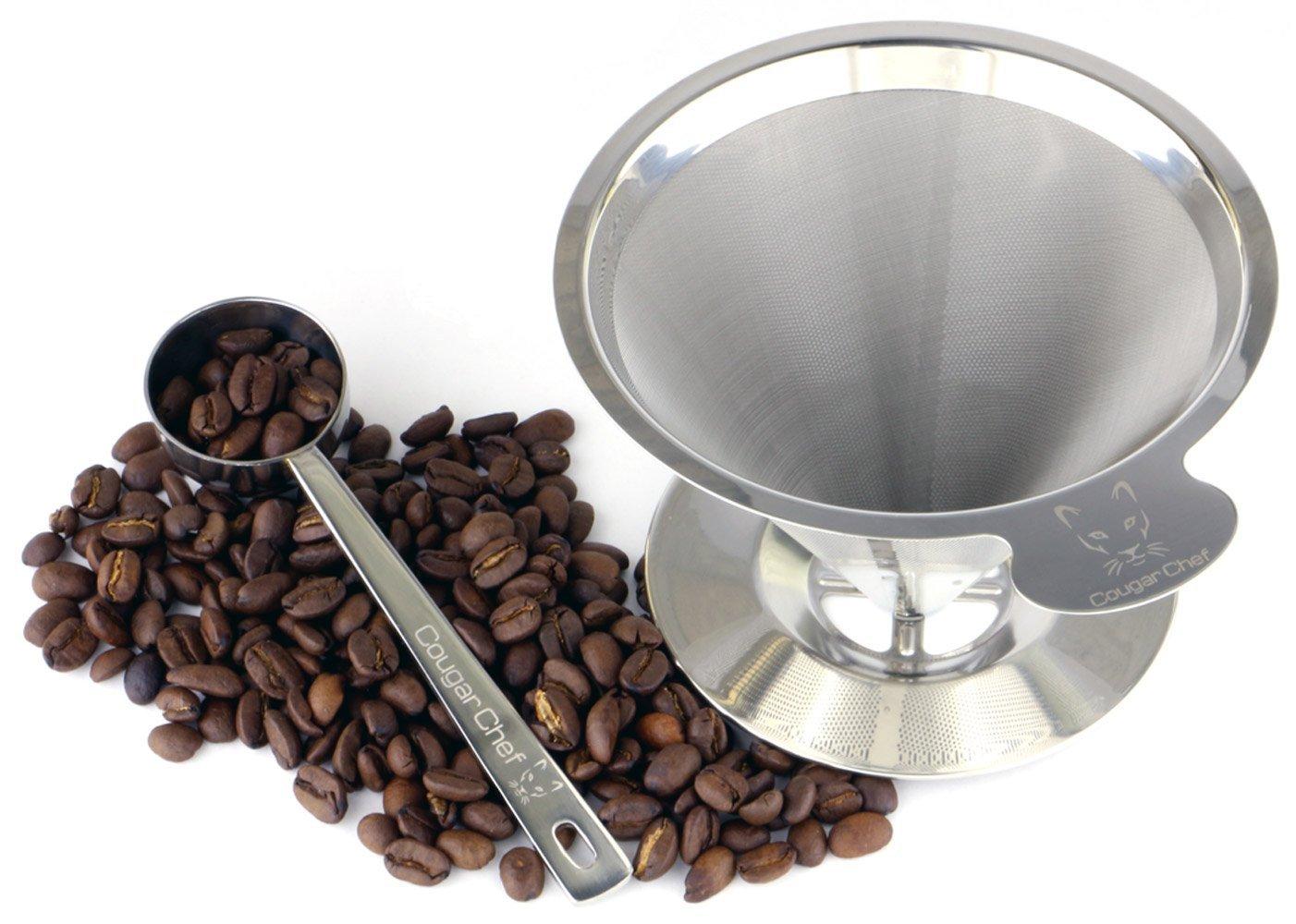 シングルカップコーヒーメーカーby Cougarシェフ B01NGUKBCI – with Permanent Stand、ペーパーレス、再利用可能なコーヒーフィルター円錐 – ダブルメッシュステンレススチールpour Over Coffee Dripper with Stand andコーヒースクープ B01NGUKBCI, 学生ショップ一番街:3f0a9c75 --- itxassou.fr