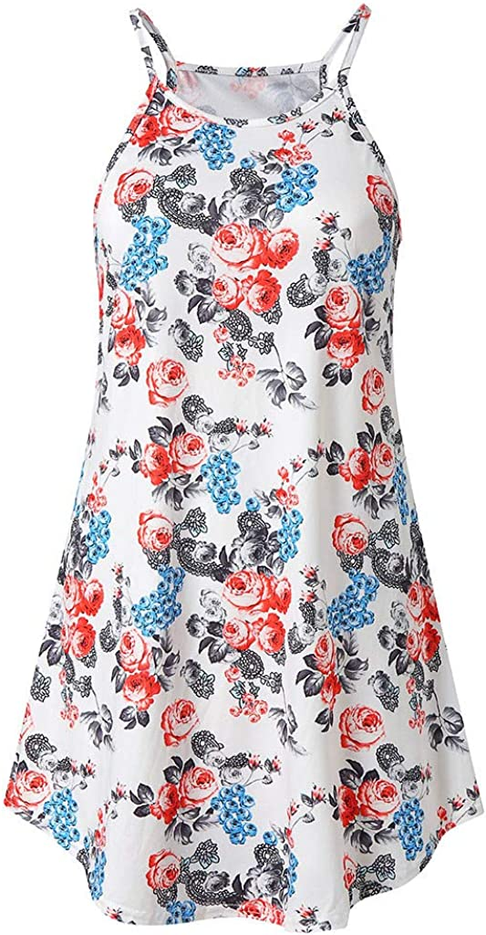 HULKY Womens Summer Casual Short Sleeve Floral Printed Party Swing Dress Sundress with Pockets