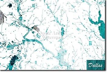 Dallas, Texas, USA Ursprüngliches Karten-Design Blue Stroke ... on