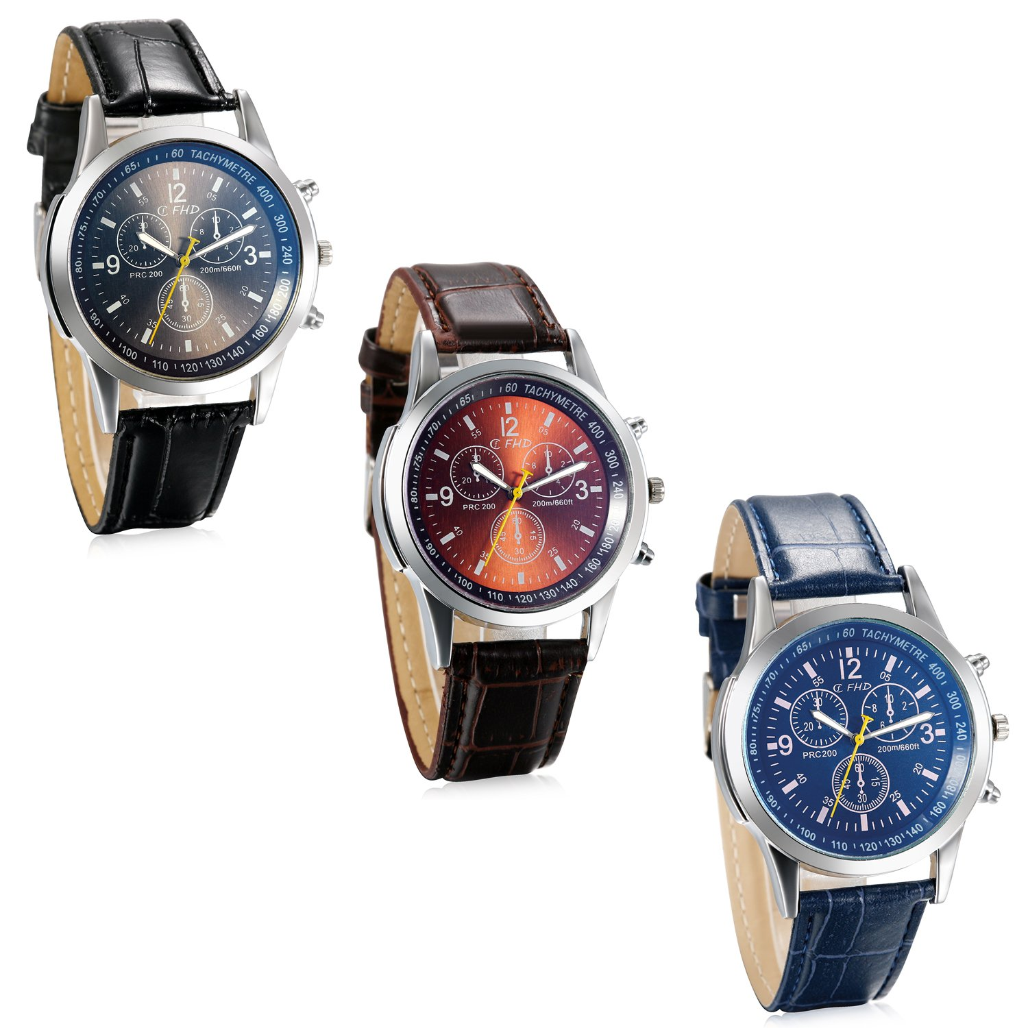 JewelryWe Business Casual Men's Quartz Wrist Watch Dial Leather Strap Watches - Pack of 3