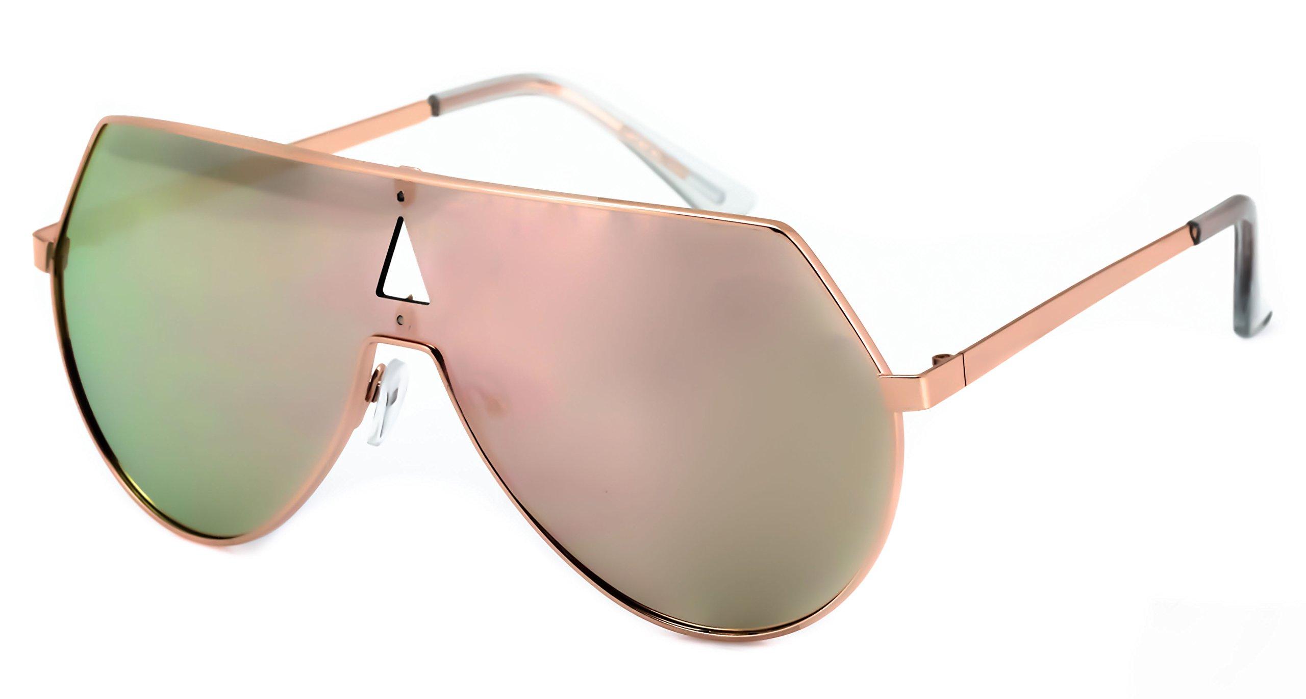 Elite Oversize Unisex Flat Top Aviator Retro Shield Mirrored Lens Rimless Sunglasses (Rose Pink Mirror, 5.8) by EliteGlasses (Image #4)