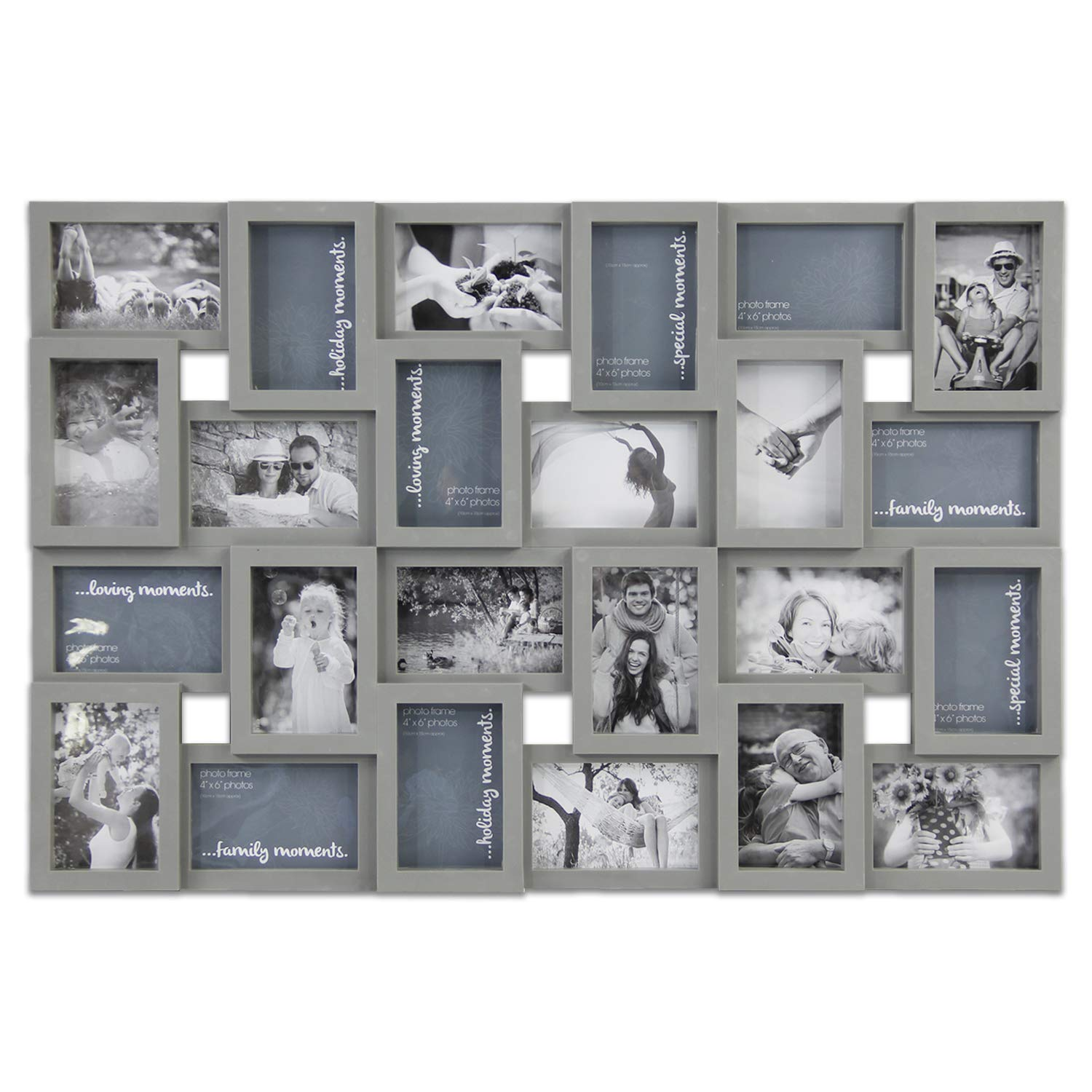 5287db15db8 Hello Laura - Photo Frame Picture Frame - 24 Sockets Gray Finish Frame  Collage Collection Wall Hanging Picture ...