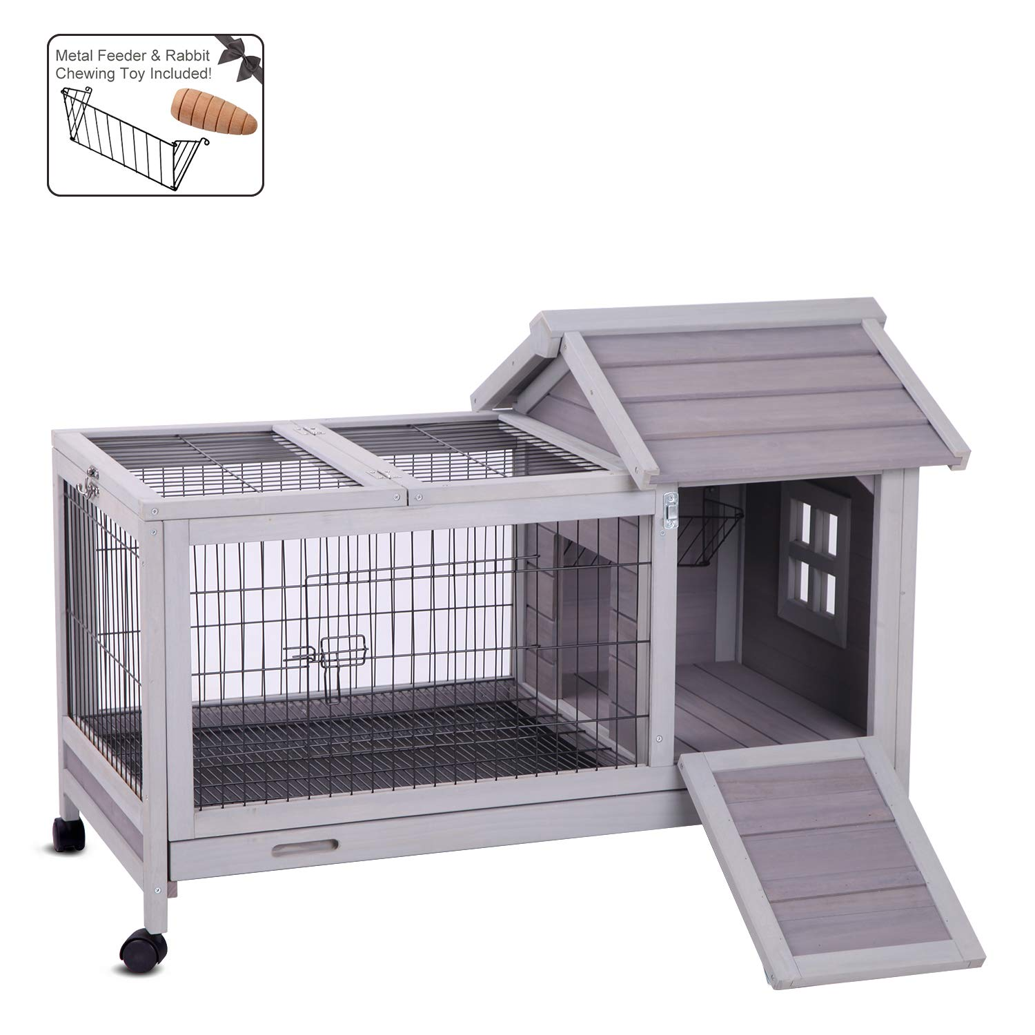 Aivituvin Rabbit Hutch Outdoor and Indoor on Wheels, Wooden Bunny Cages with Deeper Leakproof Tray - Upgrade with Metal Wire Floor,40.4'' Lx23.6 Wx28.3 H by Aivituvin