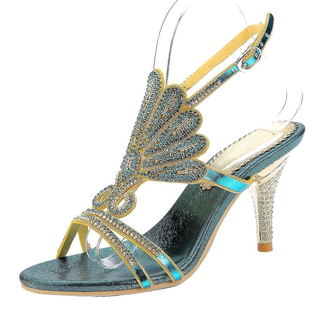 Women's Handmade Rhinestone Seashell Pattern Blue Glamor Strappy High-Heel Sandals - DeluxeAdultCostumes.com