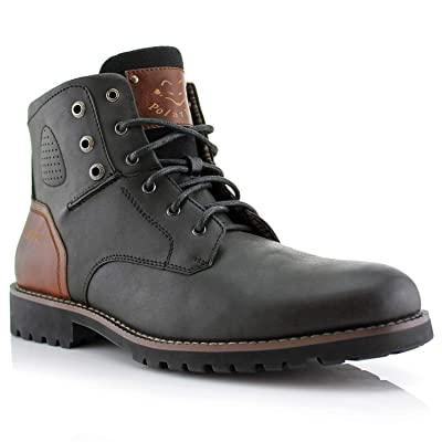 Polar Fox Homer MPX806036 Mens Casual Work Lace Up Classic Motorcycle Combat Boots | Motorcycle & Combat