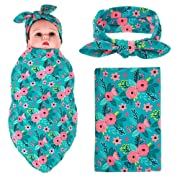 Newborn Baby Swaddle Blanket and Headband Value Set,Receiving Blankets(Blue Flower)