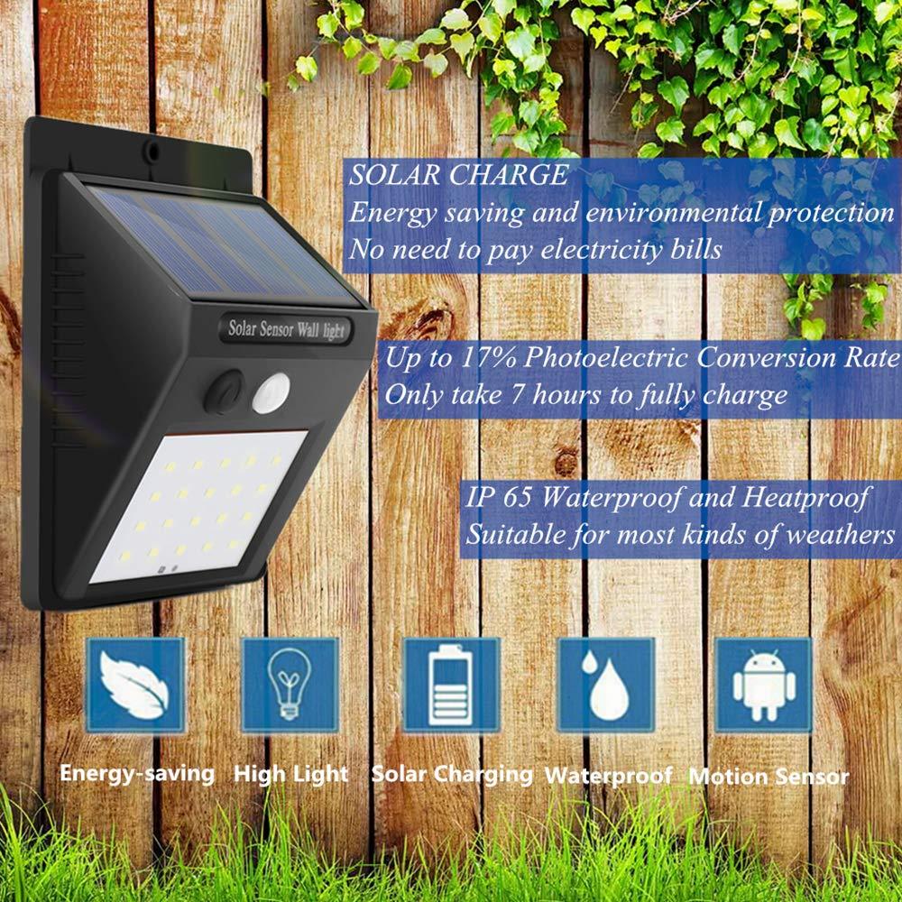 LED Solar Lights, Motion Sensor Wall Lights Security Light with 120°Wide Beam for Garden, Yard, Garage, Patio, Front Door, Outdoor (4 Pack)