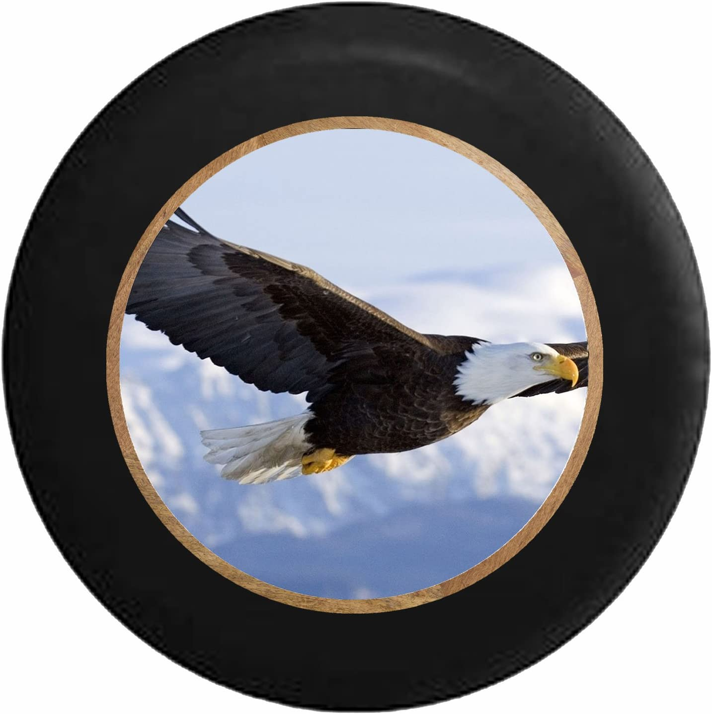 Pike Outdoors Full Color Soaring American Bald Eagle Land of The Free Spare Tire Cover fits SUV Camper RV Accessories Black 26-27.5 in