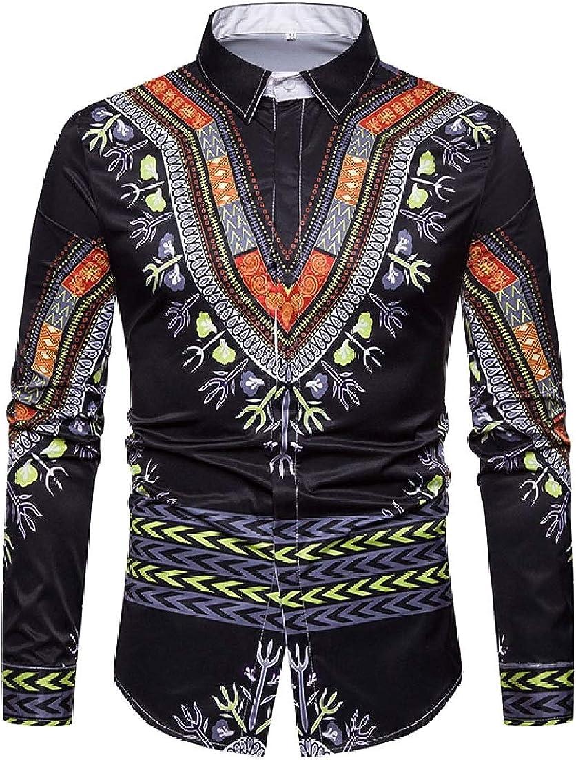 Vska Mens Classic African Navajo Floral 3D Long Sleeve Silm Fit Longshirt