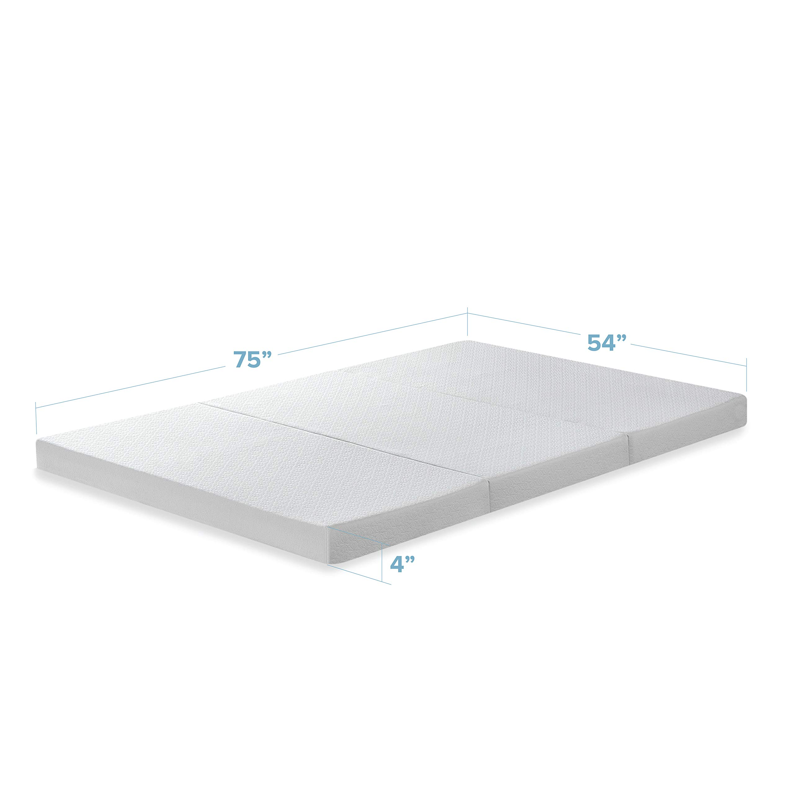 Best Price Mattress 4'' Full Trifold Mattress Topper - CertiPUR-US Memory Foam Mattress Topper with Cover, Full size by Best Price Mattress