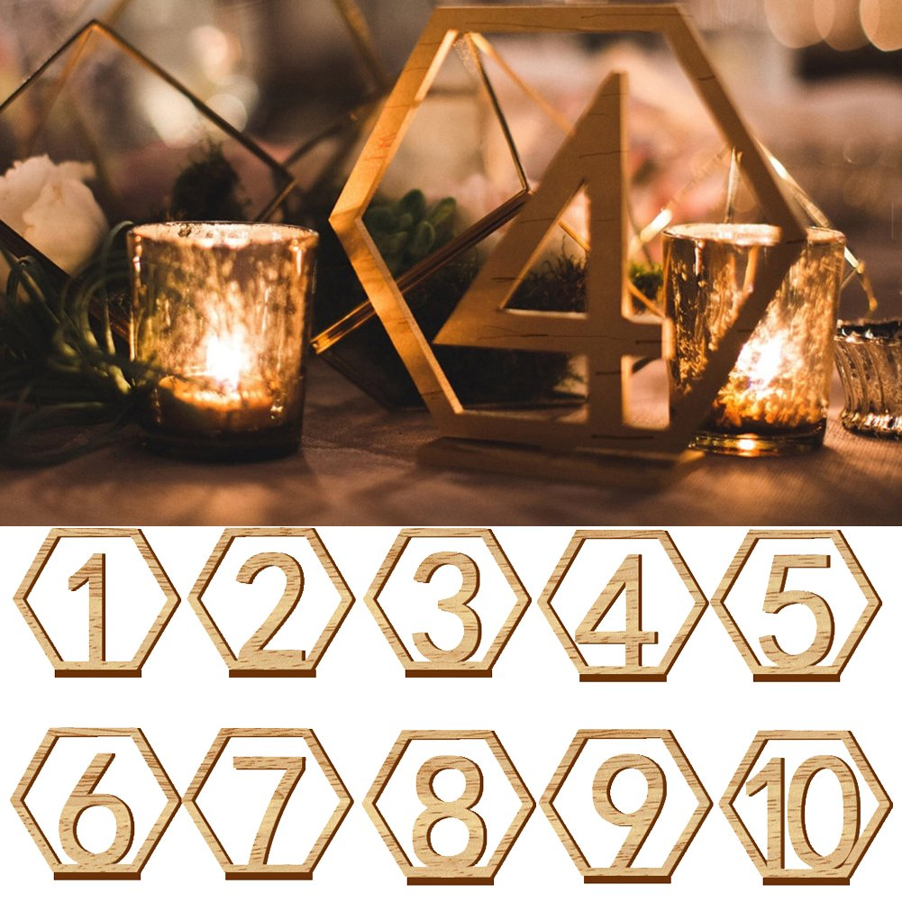 YOYOBALL8 1-20 Hexagonal Hollow Table Number Card,Suitable for Wedding,Restaurant,Club,Coffee Bar,etc.(11x9.7x0.3cm/4.33x3.82x0.12Inch)